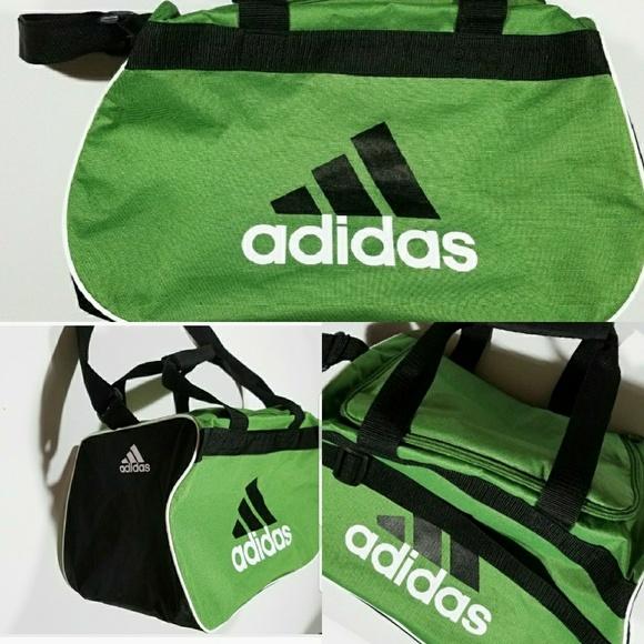 1bec624204fd adidas Handbags - Adidas Gym Duffle Bag Green Black Spellout Logo
